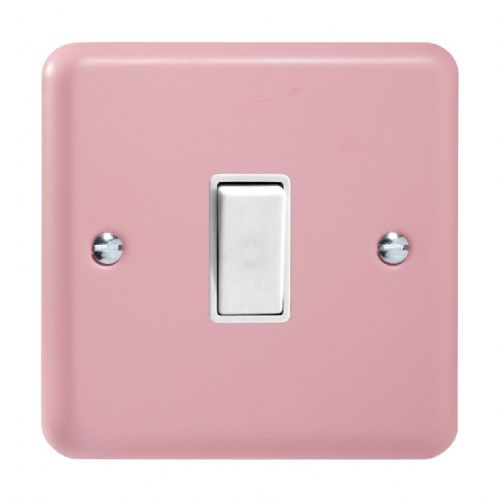 Varilight XY1W.RP Lily Pastel Rose Pink 1 Gang 10A 1 or 2 Way Rocker Light Switch